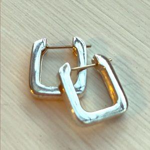Rectangular silver hoops